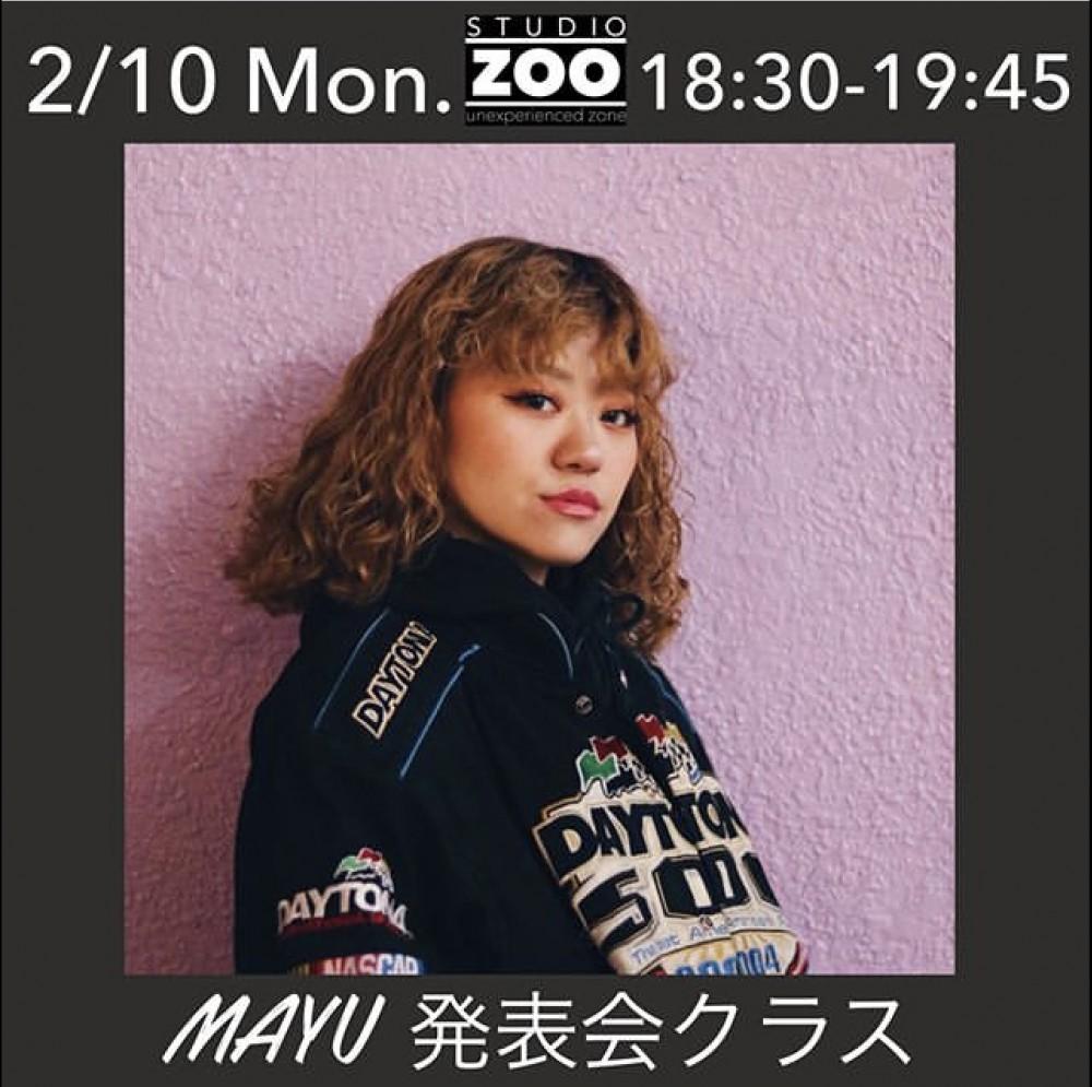 2/10(月) lesson 情報 ⏰18:30-19:45 SEIJUN ▶︎MAYU