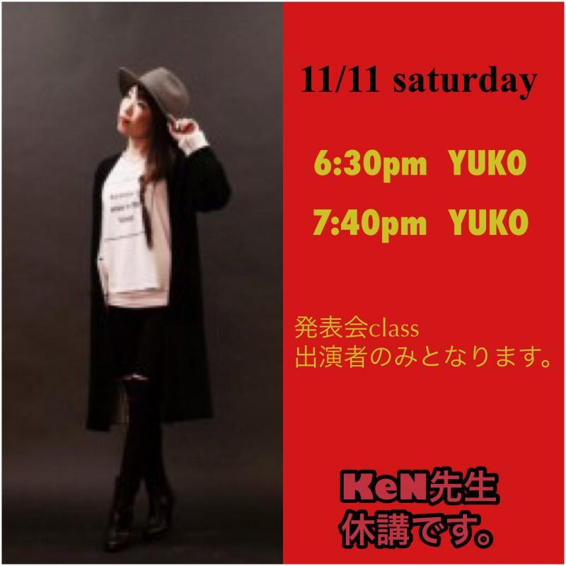 11/11土曜日  YUKOclassのお知らせです💁🏼